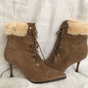 New Manolo Blahnik Brown Suede Fur-Trimmed  Boots